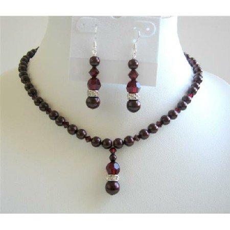 BRD598 Garnet Crystals Necklace Set Bridemaids Jewelry Set meroon