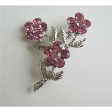 B030  Silver Tone Pink Crystals Fashion Flower Brooch w/ Silver plated Stem & Leaf Pin Brooch