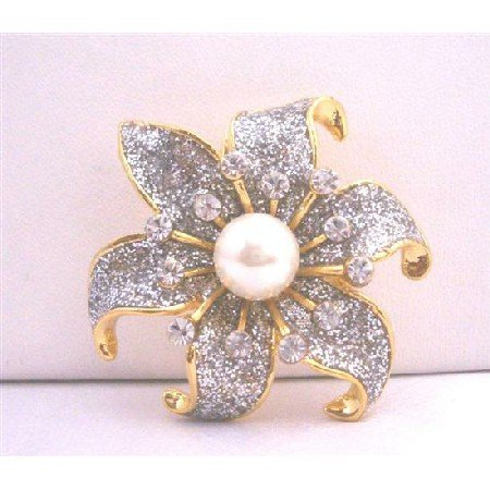 B055  Gold Plated Sunflower Cubic Zircon w/ Pearls Center