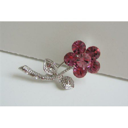 B089  Rose Pink Brooch Simulated Crystals w/ Silver Tone Pink Brooch Pin