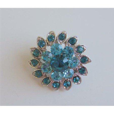 B154  Aquamarine Cute Brooch Blue Aquamarine Flower Pin Brooch Silver Casting Pin Brooch