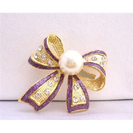 B192  Purple Beautiful OUtline Gold Bow Cubic Zircon Brooch w/ White Cultured Pearls Pin Brooch