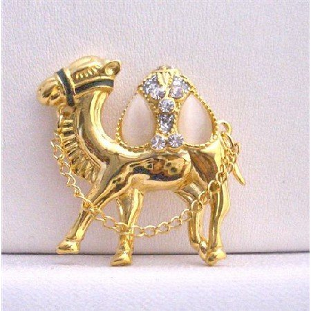 B225  Camel Gold Brooch Hump Cubic Zircon Glass Beads w/ Chain Camel Brooch