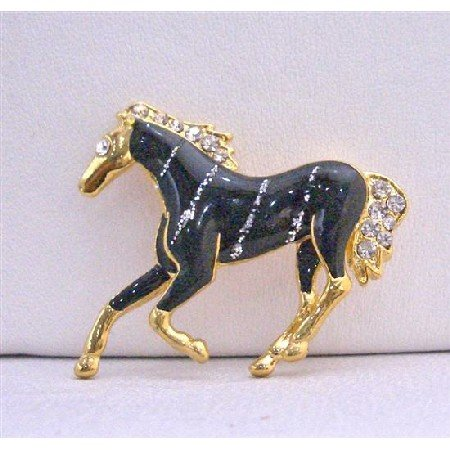 B227  Gold Tone Studded Horse Brooch w/ Black Painted & Silver Stripes Brooch