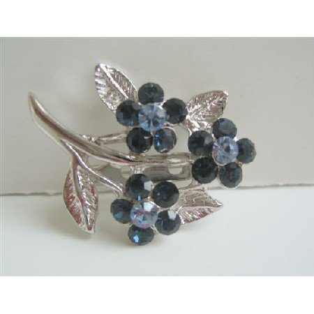 B005  Sapphire Crystals Flower Brooch w/ Cubic Zricon On Stem & Leaf