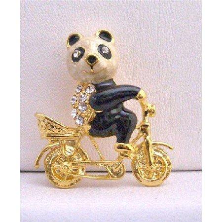 B229  Gold Plated Panda On Bike Brooch Gorgeous New Brooch