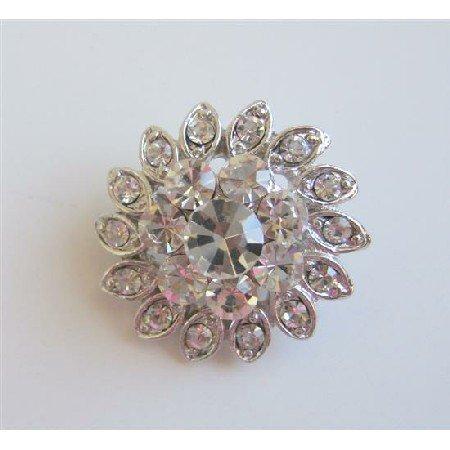 B150  Simulated Diamond Brooch Sparkling Brooch Silver Casting Pin Brooch