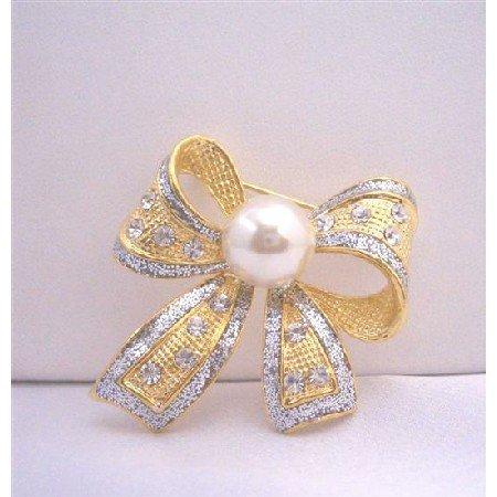 B044  Bow Cubic Zircon Leaf Brooch w/ White Cultured Pearls Pin Brooch