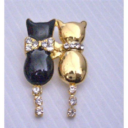 B235  Lover Brooch Twin Cat Black & Gold w/ Cubic Tail Dangling