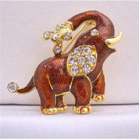 B218  Gold Plate Red Elephant Brooch Decorated w/ Cubic Zircon