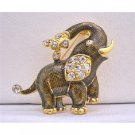 B217  Elephant Brooch Gold Plated Elephant Brooch w/ Cubic Zircon