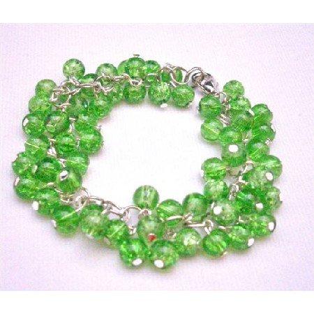 TB674  Peridot Bracelet Cat Eye Peridot Bracelet
