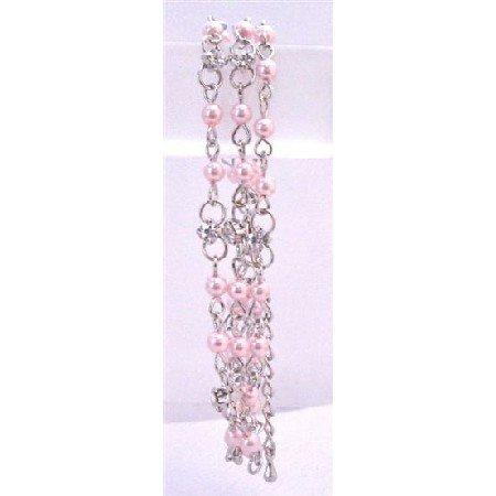 TB698  Rose Pink Pearls Three Stranded Bracelet w/ Simulated Diamond BRacelet Bridemaids Bracelet