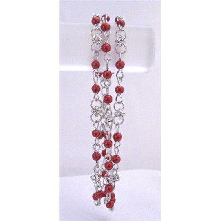 TB699  Red Pearls Bracelet Three Stranded Bracelet w/ Sparkling Simulated Diamond Wedding Bracelet