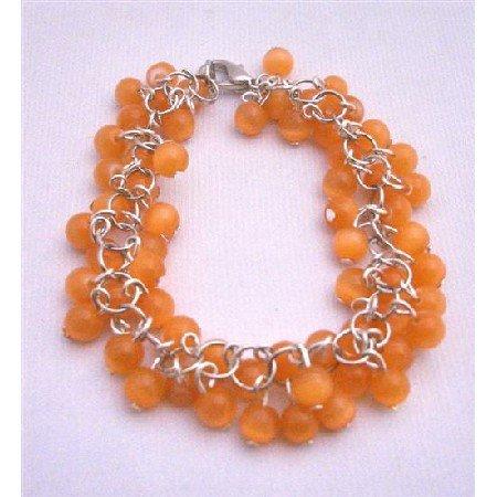TB662  Orange Beads Cluster Bracelet Multi Tiny Orange Beads Bracelet