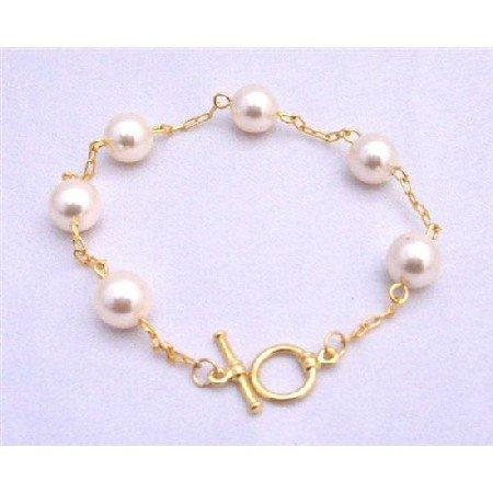 TB644  Rosaline Pearls Bracelet 22k Gold Plated Bracelet Bridal Bracelet