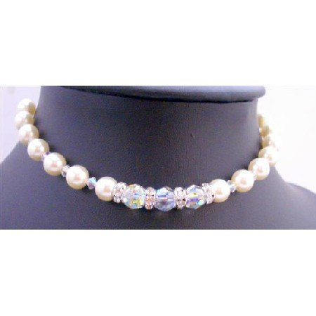 TB658  AB Crystals Cream Pearls Bracelet Bridal Bridemaides Jewelry Bracelets w/ Simulated Diamond
