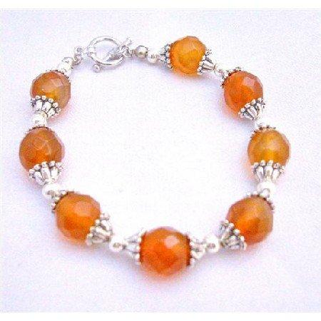 TB615  Multifaceted Carnelian 9mm Beads Bracelet w/ Bali Silver Trendy Bracelet