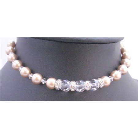 TB670  Champagne Pearls Clear Crystals Bracelet Bridal Hanmade Bracelet w/ Simulated Diamond