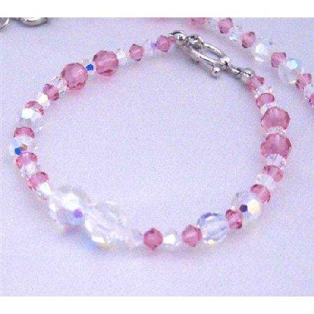 TB651  Swarovski AB Swarovski Crystals & Rose Crystals Handmade Bracelet