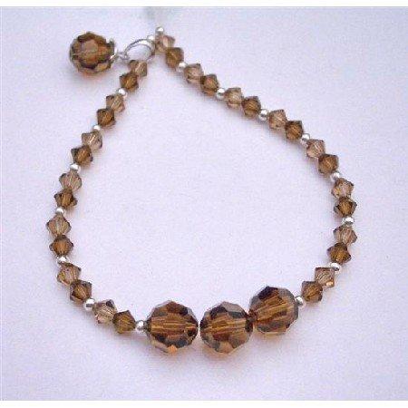 TB613  Smoked Topaz Swarovski Crystals Bracelet w/ Dangling Round Bicone Crystals Bracelet