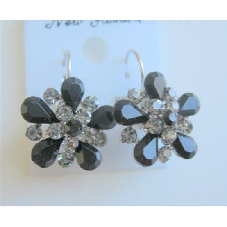 ERC476  Black Diamond Crystals Sparkling Jet Crystals Enamel Dress Earrings