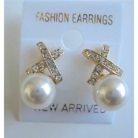 ERC457  Off White Pearls Stud Earrings Genuine Swarovski Off White Pearls Earrings