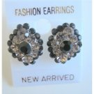 ERC114  Jet Crystals Sparkling Black Diamond Dress Arround Black Jet Crystals Earrings