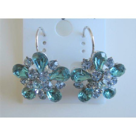 ERC468  Aquamarine Crystals Sparkling Blue Earrings Exclusively Dress Earrings