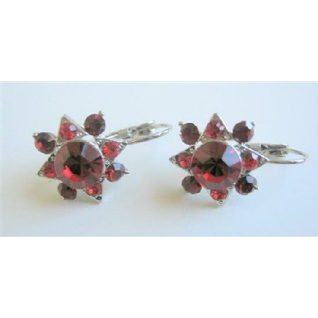 ERC462  Siam Red Crystals Earrings