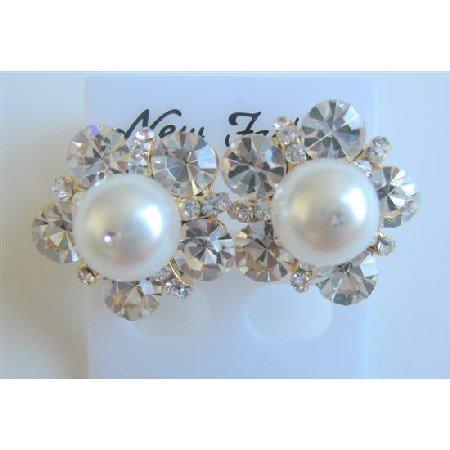 ERC456  Swarovski White Pearls Stud Earrings Dressed w/ Cubic Zircon Earrings