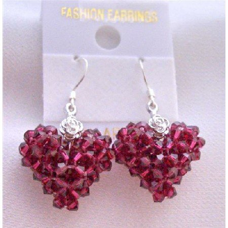 ERC509  Ruby Sexy Puffy Heart Earrings Genuine Swarovski Crystals Puffy Heart Earrings