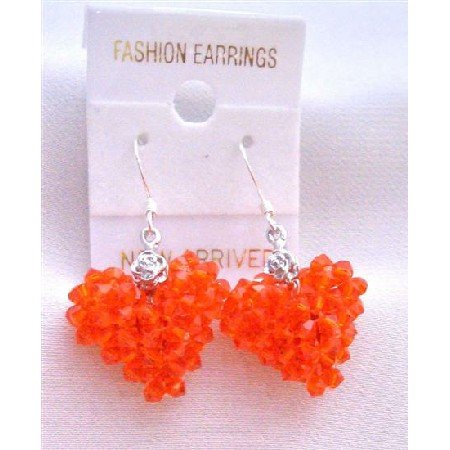ERC507  Hycinth Swarovski Crystals Puffy Heart Earrings Very Sexy Orange Heart Earrings