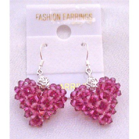 ERC504  Fuschia Swarovski Crystals Puffy Heart Earrings Artist Creation Earrings