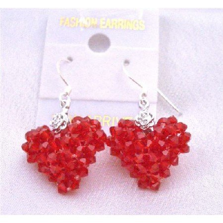 ERC502  Passion Earrings Lite Siam Red Crystals Puffy Heart Earrings w/ Silver 92.5 Earrings