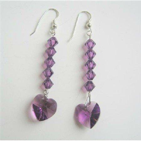 ERC408  Amethyst Crystals Heart Earrings Swarovski Crystals Sterling Silver 92.5 Earrings