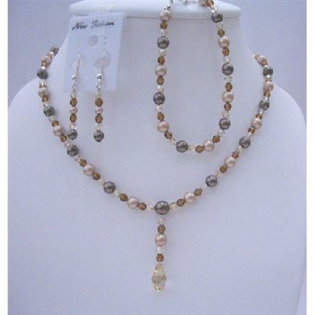 BRD411  Swarovski Birolettes Drop Jewelry Set Genuine Swarovski Brown Pearls Crystals Necklace