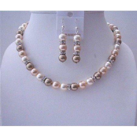 BRD521  Cream Bronze Peach Genuine Swarovski Pearls Handcrafted Jewelry Set w/ Silver Rondells