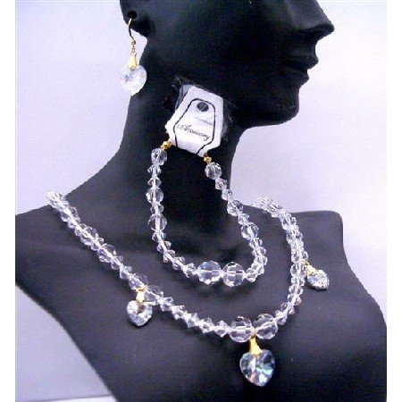 BRD379  Genuine Clear Swarovski Crystals Necklaces Set Bracelet Wedding Jewelry For Bridal