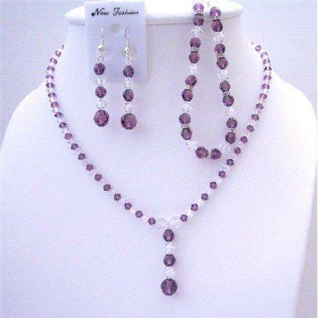 BRD417  Clear Crystals Custom Jewelry Swarovski Amethyst & Clear Crystals Necklace Earrings