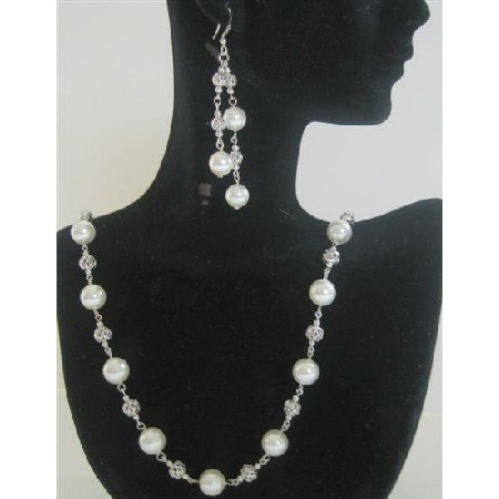 BRD393  White Pearls Long Necklace 26 inches Genuine Swarovski White Pearls Necklace