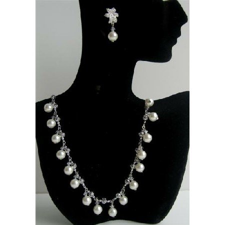 BRD387  Soothing White Pearls & Crystals Choker Genuine Swarovsk Crystals Wedding Party