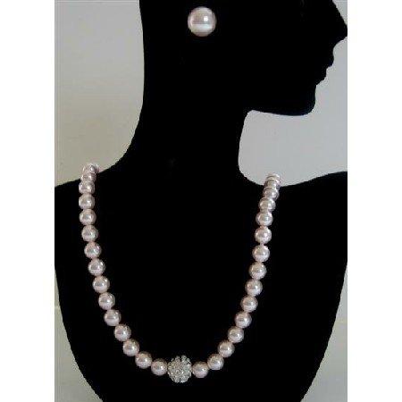 BRD391  Genuine Swarovski Rose Pink Pearls Necklace w/ Cubic Zircon Embedded Pendant & Stud Earrings