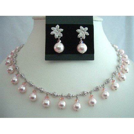 BRD305  Rose Pink Pearls & Crystals Choker Genuine Swarovsk Crystals Wedding Party Bridal Jewelry