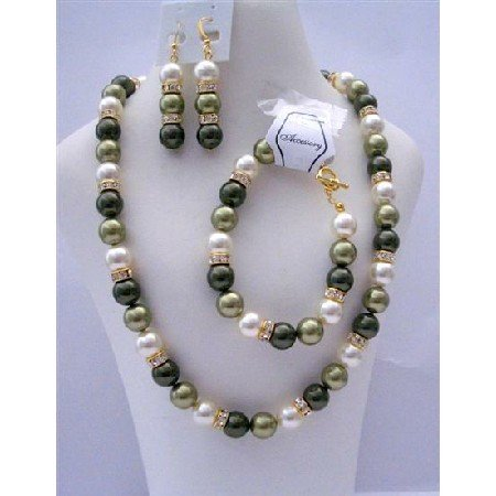BRD380  Green Pearls Jewelry Handcrafted Genuine Light & Green Pearls w/ Gold Rondells
