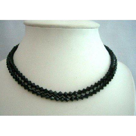 BRD336  Genuine Swarovski Jet Crystals(5mm) 2 Stranded Necklace Handcrafted Necklace