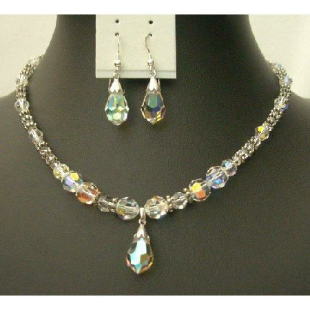 BRD360  Genuine Swarovski AB Clear Crystals & Volcano Crystals w/ AB Teardrop & Earrings