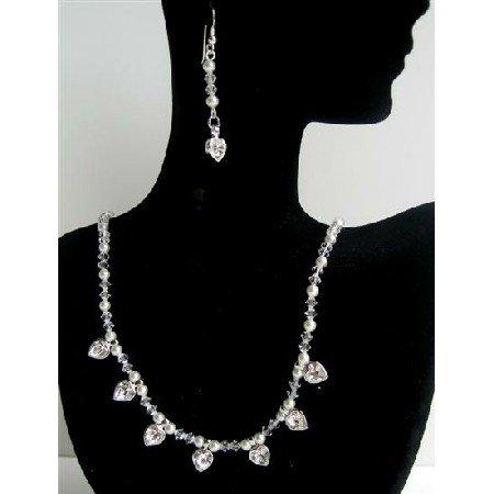BRD384  Swarovski Pearls & Crystals Handmade Jewelry Set Genuine Swarovski Clear Crystals