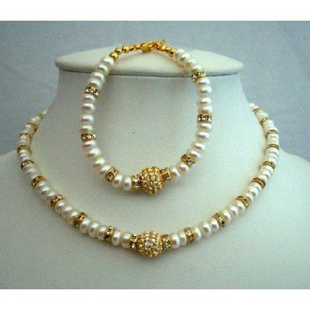 NSC203  Choker & Bracelet FreshWater Pearls w/ Rondells Gold Plated & Gold Plated Pendant