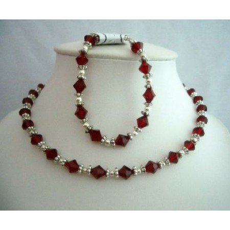 NSC298  Fine Jewelry Artisan Jewelry w/ Genuine Swarovski Siam Red Crystals Necklace & Bracelet